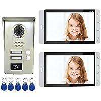 AMOCAM Wired Video Door Phone Intercom System, 7 Monitor, Full Aluminum Alloy Waterproof Camera, Support RFID Keyfobs Unlock, Video Doorbell Kits, for 2 Units Apartment House