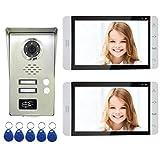 AMOCAM Wired Video Door Phone Intercom System, 7'' Monitor, Full Aluminum Alloy Waterproof Camera, Support RFID Keyfobs Unlock, Video Doorbell Kits, for 2 Units Apartment House