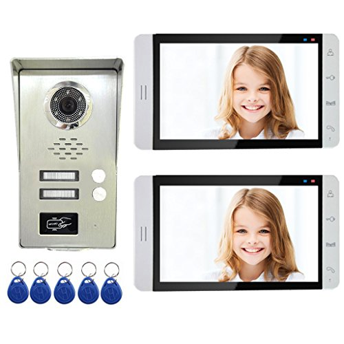 AMOCAM Wired Video Door Phone Intercom System, 7'' Monitor, Full Aluminum Alloy Waterproof Camera, Support RFID Keyfobs Unlock, Video Doorbell Kits, for 2 Units Apartment House by AMOCAM