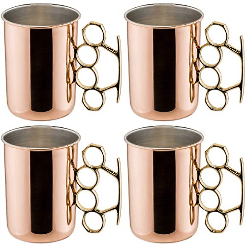 Old Dutch Brass Knuckle Moscow Mule Mug, 20-Ounce, Set of 4 -