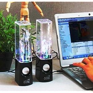 Lightahead® Original ATake (US VERSION) Colorful Music Fountain Mini Amplifier Dancing Water Speakers Water Dancing Speakers Enh