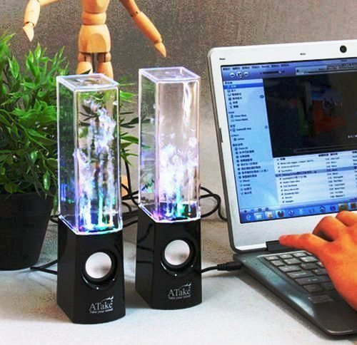 Lightahead® Original ATake (US VERSION) Colorful Music Fountain Mini Amplifier Dancing Water Speakers Water Dancing Speakers Enh