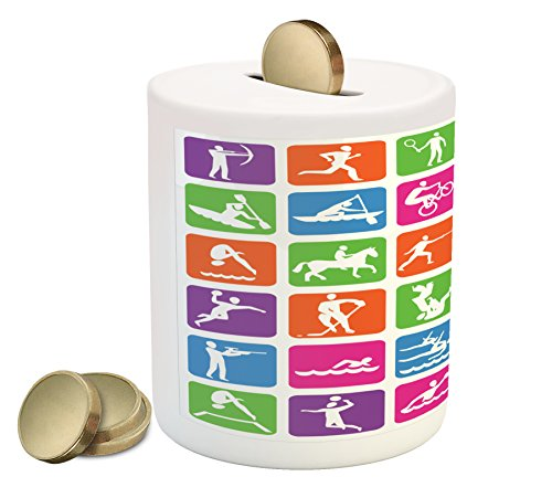 Lunarable Olympics Piggy Bank, Collection with 36 Sport Icons Basketball Cycling Diving Mountain Bike Wrestling, Printed Ceramic Coin Bank Money Box for Cash Saving, ()