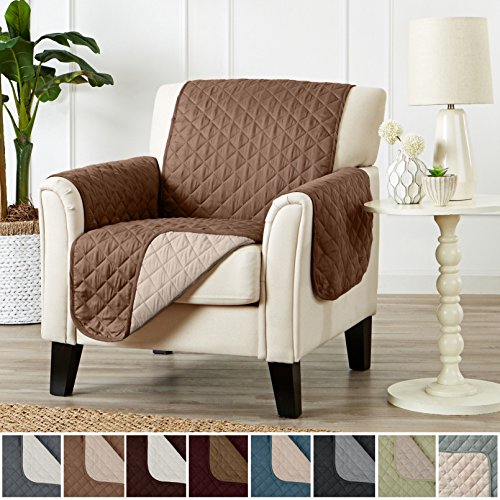 Home Fashion Designs Deluxe Reversible Quilted Furniture Protector and PET PROTECTOR. Two Fresh Looks in One. Perfect for Families with Pets and Kids. By Brand. (Chair, Prairie/Flax)