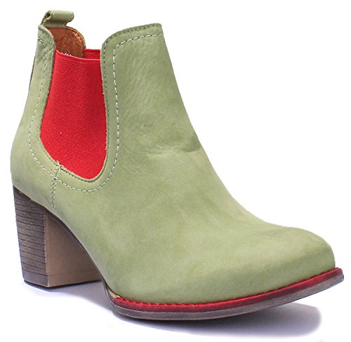 Justin Reece Womens Heel Soft All Leather Pull on Chelsea Boot Green K2G7bs