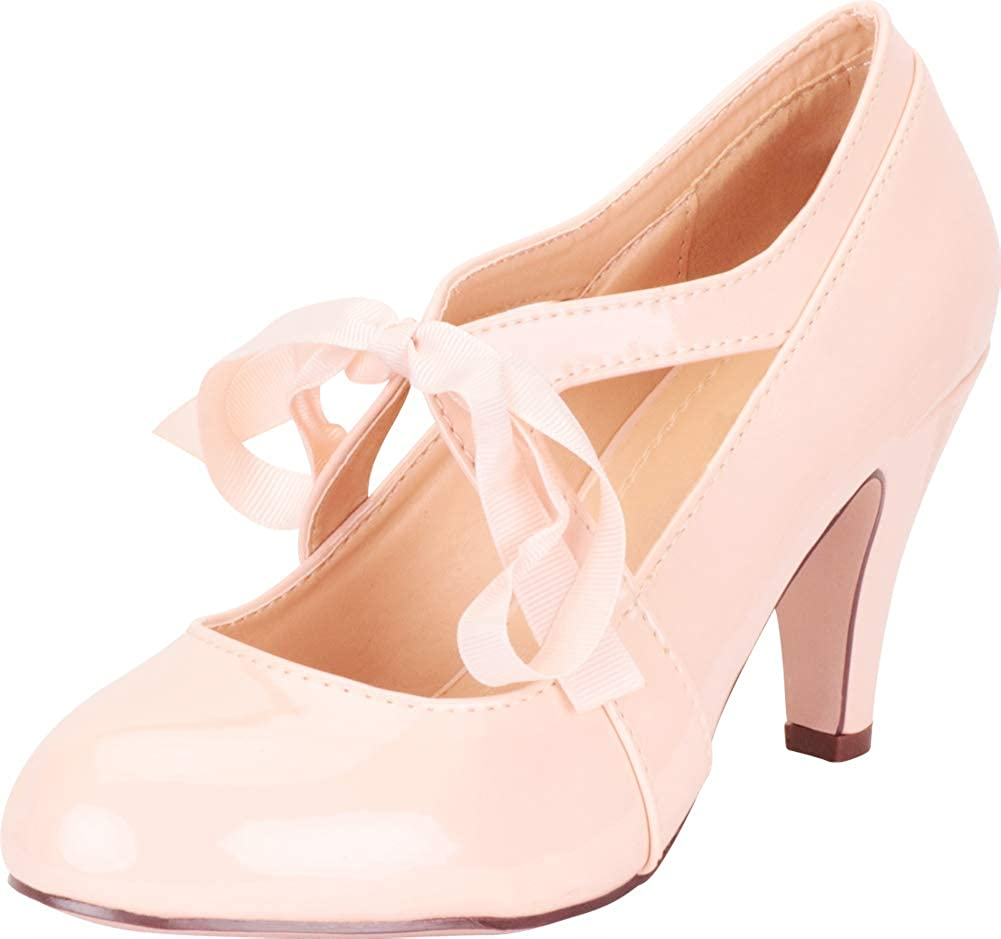 Nude Patent Pu Cambridge Select Women's Retro 1920s Vintage-Inspired Ribbon Bow Chunky High Heel Pump