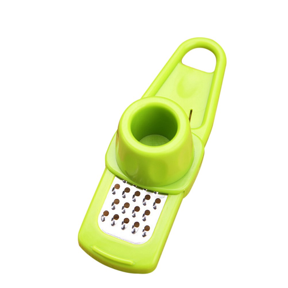 BESTOMZ Multifunction Garlic Press Home Kitchen Plastic Stainless Steel Garlic Press Chopper Cutter Garlic Grinding Kitchen Hand Tool (Green)
