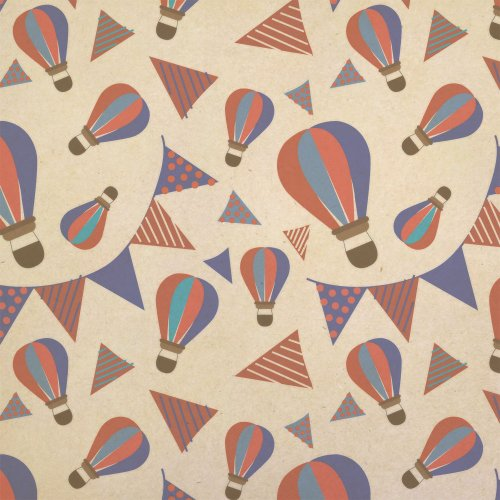 Bunting Wrap (Hot Air Balloons And Bunting Kraft Present Gift Wrap Wrapping Paper)