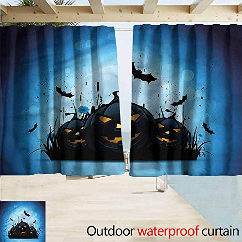 Rod Pocket Top Blackout Curtains/Drapes Halloween Scary Pumpkins in Grass Drapes for Outdoor Decor W72x45L Inches]()