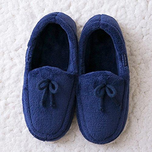 LaxBa L'hiver au chaud, l'hiver Chaussons Chaussons moelleux Accueil chaleureux en hiver, chaussures antiglisse Chambre Chaussons Navy blueS code (35-36) adapté