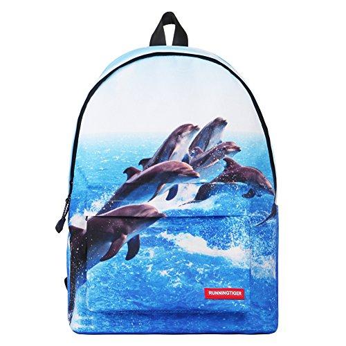 """Artone Universo Azul Casual Mochila Fit 15"""" Portátil Con La caja de lápiz Galaxy y Crossbody Bolsa Conjunto Blu delfino"""