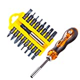 18 PCS Screwdriver Bit Set Hex Phillips Slotted Bits With Magnetic Extension Bit Holder and Adjustable Screwdriver Handle S2 Alloy Steel 1/4 Inch Hex Shank Screwdriver