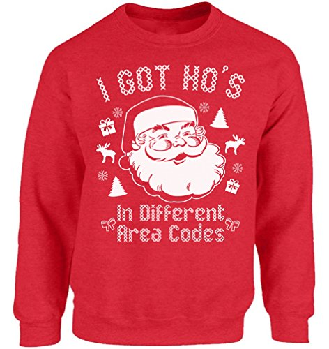 Christmas Pullover - Vizor I Got Ho's In Different Area Codes Ugly Christmas Sweatshirt Xmas Sweater Red L