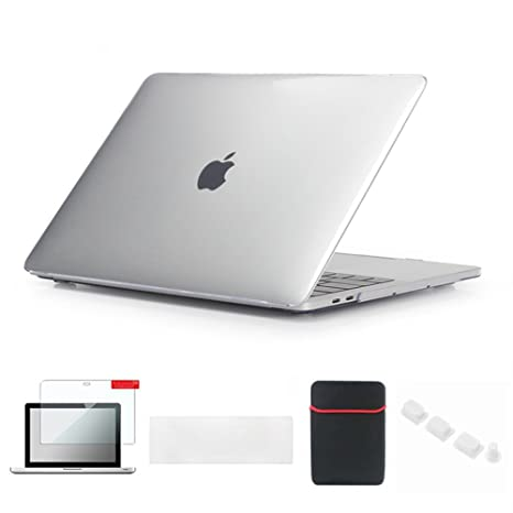 premium selection 542d9 ea5a6 Se7enline Clear MacBook Pro Case 2016-2018 with Touch Bar Crystal  Soft-Touch Hard Cover for NEW MacBook Pro 15 inch A1707/A1990 with Sleeve  Bag, ...