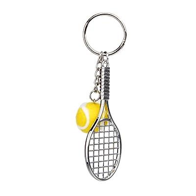 Balle Tennis Raquette Pendentif Porte-clés Cadeau Fête Décor Sac - Jaune