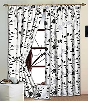 Kitchen Curtains black and silver kitchen curtains : Delilah White Black & Silver Raised Flock Lined Curtains. 66
