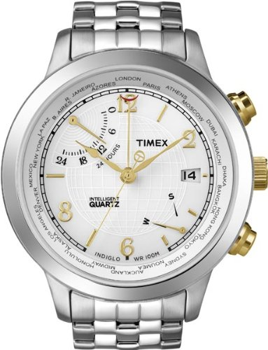 Time Mens White Dial (Timex World Time White Dial Men's watch #T2N613)