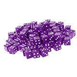 Dovewill Acrylic Opaque Six-Sided Dices Role Play Game Lovers Party Board Games Play Accessory Spot Dices Gift Pack of 100PCS Purple