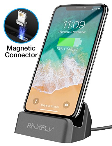 Dock Station Cradle - RAXFLY For iPhone Charger Dock, [Removable Magnetic Lightning Connector ] Desktop Charging Stand Station for Apple iPhone SE/5/5S/5C/6/6S/7/8/Plus X/iPod Nano/iPod Touch
