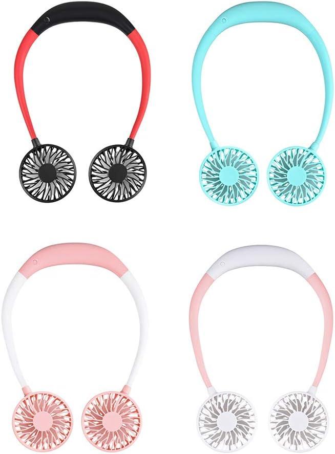 JinanshiCathy Oliver Kit mains libres portable Ventilateur de cou USB Rechargeable Ventilateur de sport Rose