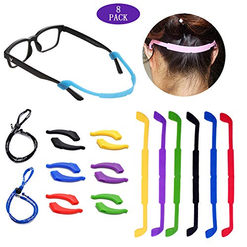 8 Pack Glasses Straps 6 Pack Anti-Slip Sports Glasses Strap with 6 Pairs Ear Grip Hooks Elastic Glasses Strap 2 Pack Eyeglass Sports Straps Eyeglass Temple Tips for Kids Adult (Sports Glasses Strap)