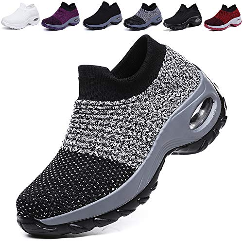 K&T Womens Cushion Walking Shoes Sock Sneakers Tennis Shoes Mesh Slip On Loafers Lightweight Fashion Nursing Girls Wedge Platform Dance Shoes Black-Grey