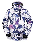 Andorra Women Insulated Windproof Mountain Hiking Snowboarding Jacket,Retro Violet Grunge,M