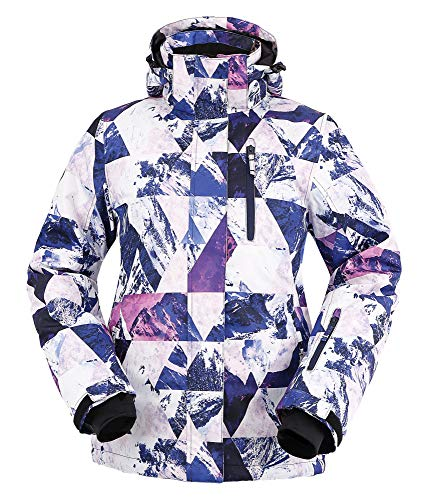 - Andorra Women Insulated Windproof Mountain Hiking Snowboarding Jacket,Retro Violet Grunge,M