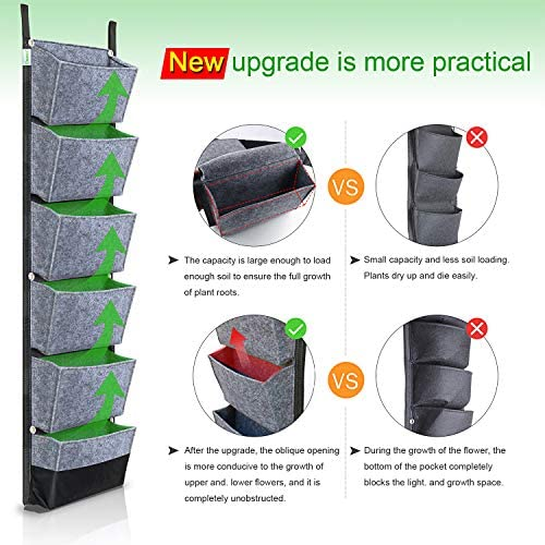 NEWKITS Vertical Wall Garden Planter with 6 Pockets Best Plant Growth Design Large Space Waterproof Breathable Use for Hanging Herb Garden Courtyard Office Home Decoration (Grey)