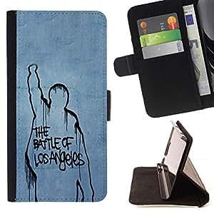 For HTC One A9 Case , Batalla Los Ángeles- la tarjeta de Crédito Slots PU Funda de cuero Monedero caso cubierta de piel