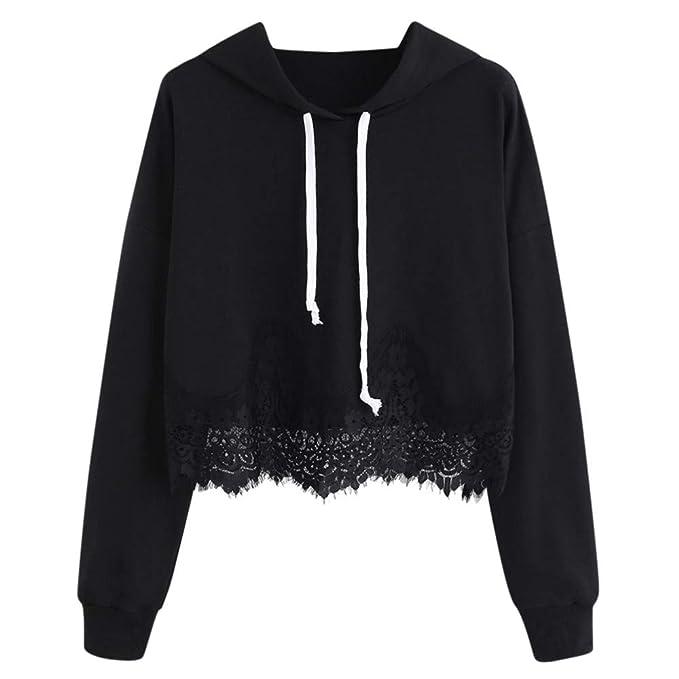 Hoodie Damen,Innerternet Frauen Leicht Kapuzenpullover mit Spitze Casual Langarm Sweatshirt Pullover Elegante Oberteile Bluse