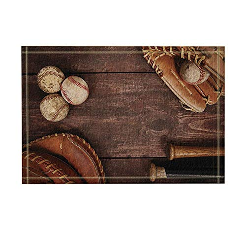 GOLLEY Sports Decor, Vintage Baseball with Nostalgic Leather Retro Balls On Wooden Bath Rugs, Non-Slip Doormat Floor Entryways Indoor Front Door Mat, Kids Bath Mat, 32x20 Inch