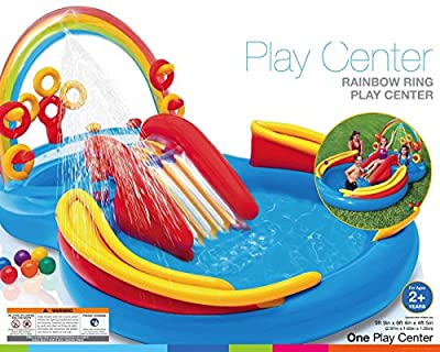 VirtualSurround Inflatable Kids Rainbow Ring Water Play Center Swimming Pool
