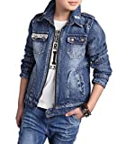 Boys Quality Classic Distressed Denim Trucker Jacket (5, Blue)