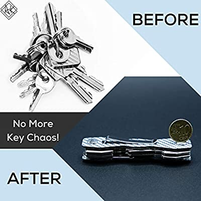 Carbon Fiber Compact Key Holder - Premium Heavy-Duty Key Organizer UP to 28 Keys -B0NUS Keychain Holder with Loop Piece for Belt or Car Keys - SIM & Bottle Opener + Video Instructions (Silver Carbon): Office Products