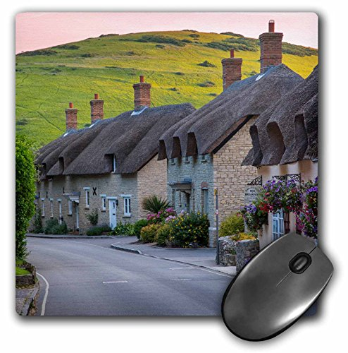 Danita Delimont - Houses - Evening view of thatch roof cottages in West Lulworth, England - MousePad - House Thatch