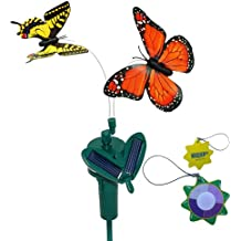 HQRP Pair of Solar Powered Flying Fluttering Butterflies Orange Monarch and Yellow Swallowtail for Garden Plants Flowers plus HQRP UV Chain / UV Health Meter