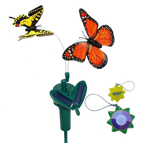 Hqrp Pair Of Solar Powered Flying Fluttering Butterflies Orange Monarch And Yellow Swallowtail For Garden Plants Flowers Plus Hqrp Uv Chain   Uv Health Meter