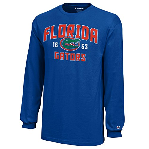 Champion NCAA Florida Gators Youth Boys Long Sleeve Jersey T-Shirt, Large, Royal Blue