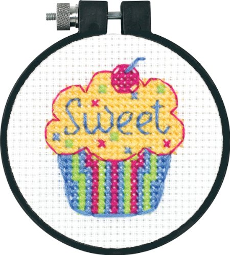 DIMENSIONS Learn-A-Craft 'Cupcakes' Mini Counted Cross Stitch Kit for Beginners, 3""
