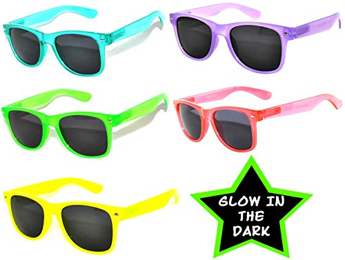 (5 Pack Vintage Smoke Lens Sunglasses Retro 80's Colored)
