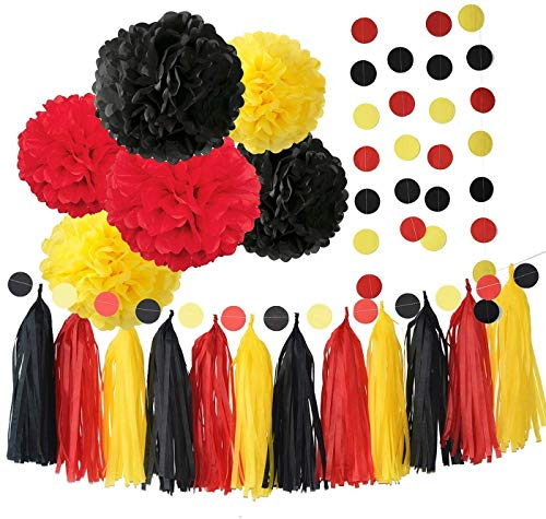 Mickey Mouse Party Supplies Mickey Mouse Backdrop Yellow Black Red Mickey Mouse Birthday Decorations/Tissue Paper Pom Pom Tassel Garland Mickey Garland Baby Shower Decorations]()