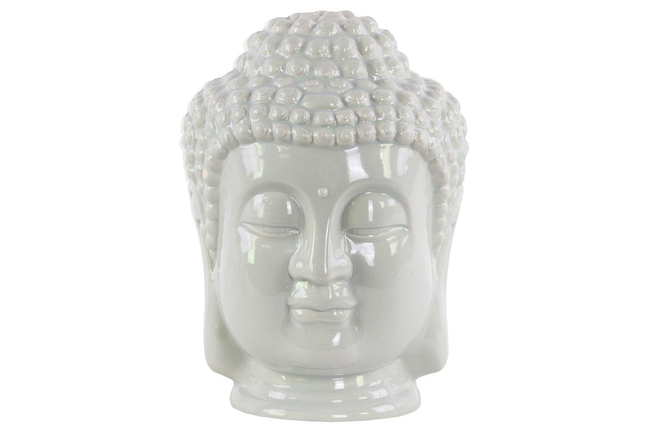 Urban Trends Ceramic Buddha Head with Beaded Ushnisha in Gloss Finish, Gray by Urban Trends