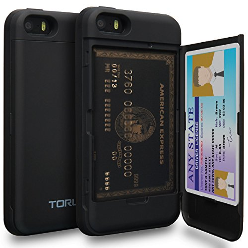 TORU CX PRO iPhone SE Wallet Case with Hidden ID Slot Credit Card Holder Hard Cover & Mirror for Apple iPhone SE/iPhone 5S/iPhone 5 - Matte Black (Best Iphone Se Wallet Case)