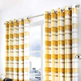 Fusion - Balmoral Check - 100% Cotton Ready Made Lined Eyelet Curtains - 90' Width x 72' Drop (229 x 183cm) in Ochre