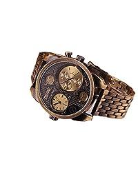 Oulm Luxury Watch Brand Men Full Steel 4 Small Dials Men Military Antique Clock Quartz Mens Watch