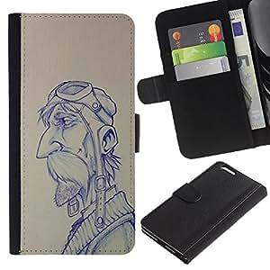 A-type (Pilot Sketch Drawing Man Moustache) Colorida Impresión Funda Cuero Monedero Caja Bolsa Cubierta Caja Piel Card Slots Para Apple (5.5 inches!!!) iPhone 6+ Plus / 6S+ Plus
