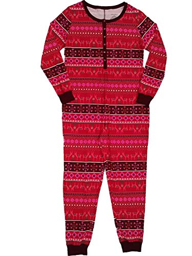 Xhilaration Pink Pajamas - Womens Red Hot Pink Reindeer Nordic Christmas Union Suit Breakfast Pajama X-Large