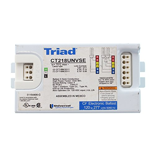 Universal CT218UNVSE Compact Fluorescent Ballast, 2-Lamp, 18W CFT CFL, (Electronic Compact Fluorescent Universal Ballast)