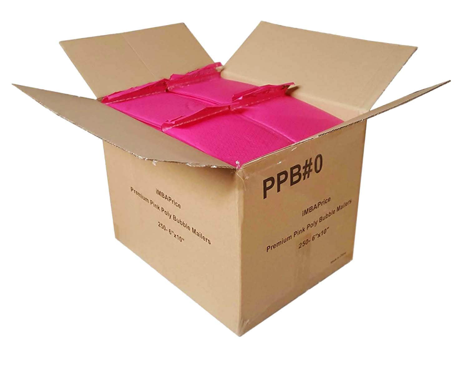 iMBAPrice 250-Pack #0 (6'' x 10'') Premium Hot Pink Color Self Seal Poly Bubble Mailers Padded Shipping Envelopes (Total 250 Bags) by iMBAPrice